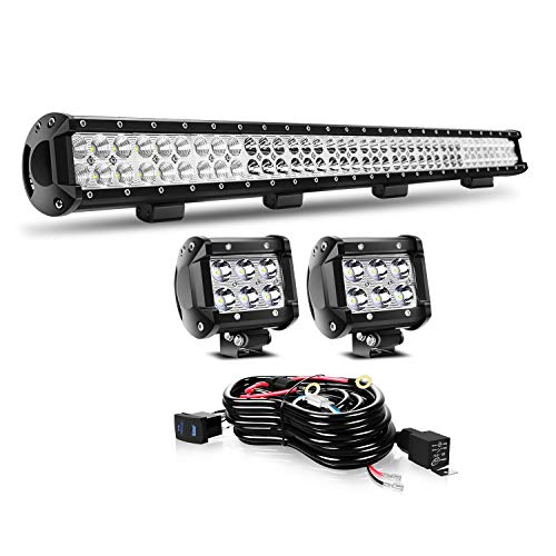 KEENAXIS 39 Inch 252W LED Spot Flood Combo Bar 2PCS + 4Inch 18W LED Work Lights Driving Lights with Rocker Switch Wiring Harness for Ford Truck Chevy GMC ATV ,1Year Warranty