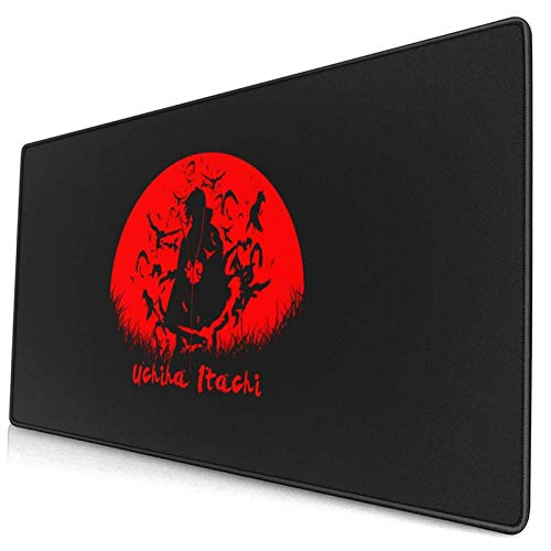 Anime Naruto Itachi Uchiha Black Gaming Keyboard and Mouse Pad Large Extended Gamer Mouse Mat Non-Slip Rubber Full Desk Mousepad for Computer Laptop Office 15.8 x 29.5 Inch