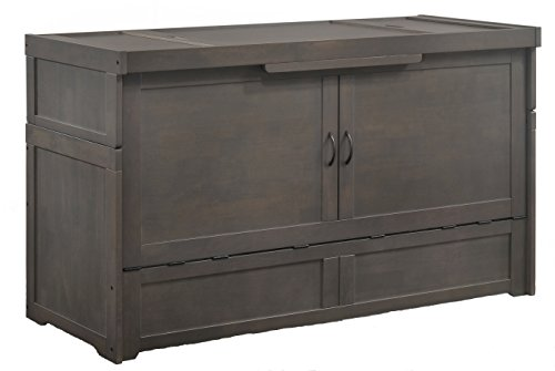 Night & Day Murphy Cube Queen Cabinet Bed Professionally Assembled by SDS Cabinet Beds with Custom 6' Memory Foam Mattress (Stonewash)