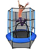"""LUDOSPORT 60""""Trampoline for Kids, 5FT Mini Trampoline with Enclosure Net, Indoor Outdoor Baby Trampoline, Heavy Duty Frame, Safety Pad, Bulit-in Zipper, Recreational Trampolines Gifts for Boy and Girl"""
