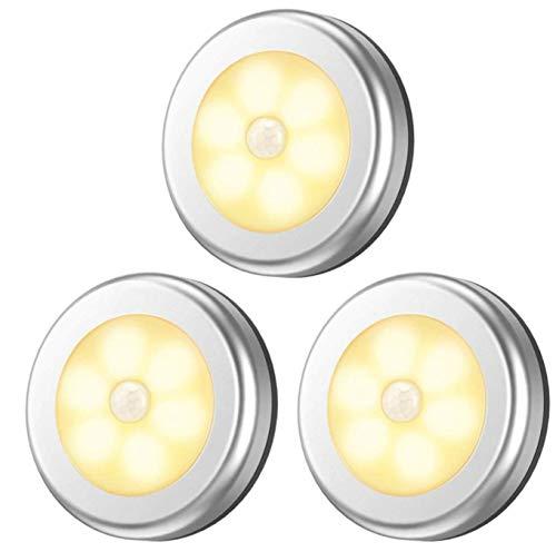 【ヘルスリーフ】 LED人感センサー ライト 電池式 LEDライト 3個セット 両面テープ付き マグネット 磁石付き ナイトライト 室内 ワイヤレス 小型 電球色