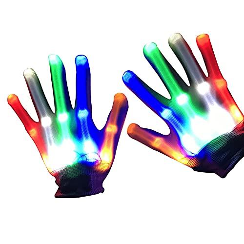 Guantes LED, Guantes Clidos con Luz De Colores para La Fiesta del Club De Halloween De Navidad, Guantes De Esqueleto con Luz LED Intermitente para Niosguantes con Luz De Fiesta Nocturna Temtica