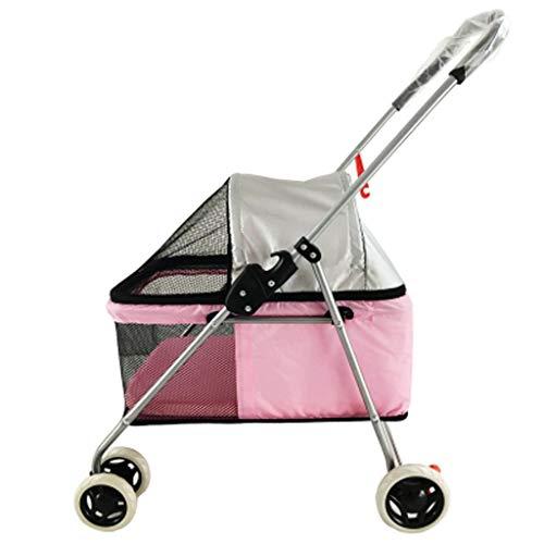 Kinderwagen, 4-Rad-Cat-Spaziergänger, faltbares Hundekinderwagen mit abnehmbarem Liner, for Kleintiere, mehr Farben (Color : Pink)
