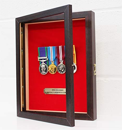 Keizerlijke medailles wandgemonteerde medaille vitrine met scharnierende opening aan de voorkant