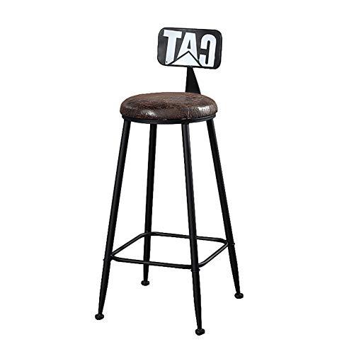 Barhocker Fußstütze Stuhl mit Rückseite Essstühle Zähler Höhe Lederkissen und Metallbeine für Bar Pub Dining Küche, Schwarz
