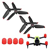 Propeller Spare Blades for DJI FPV Drone Accessories (Red) - Gift Propeller Motor Dust-Proof Protection Cover