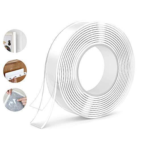 DOSMUNG Waschbares Spurloses Doppelseitige Klebebänder, 3M Nano Klebeband, Mehrzweck Transparent Magic Tape Extrem Starker Klebekraft, Wiederverwendbare, Hitzebeständig, Rückstandsfrei (White)