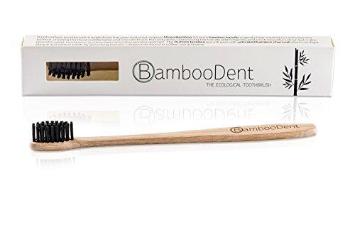 BambooDent - Die ökologische Zahnbürste   Natürlich Weiße Zähne   Mittel Weiche Aktivkohle Borsten   Schmaler Weicher Bambus Griff   Biologisch Abbaubare Bambus Handzahnbürste   100% BPA Frei und Natürlich