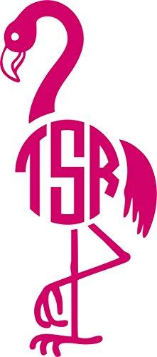 Tshirt Rocket Flamingo Personalized Monogram Initials Decal - Vinyl Car Decal, Laptop Decal, Car Window, Laptop Decal, Car Window Sticker (5', Hot Pink)