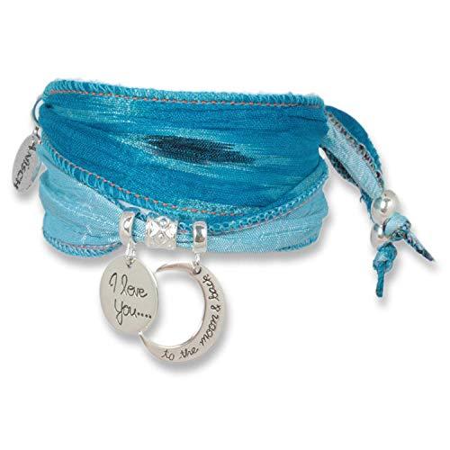 Anisch de la Cara Mujeres Pulsera Princess Blue - Pulsera Moon Love Hecha de Saris Indios, Plata 925 Silver Symbols - Arte no 90113-b