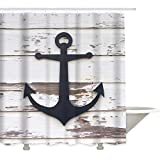 Shower Curtain with Grommet Metal 60' x 72' Polyester Waterproof and Washable- Nautical Anchor Sketch Gray-White Rustic Striped Wooden