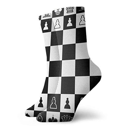 Calcetines deportivos para hombre y mujer Calcetines de ajedrez cuadrados en blanco y negro Calcetines divertidos de poliéster 30 cm