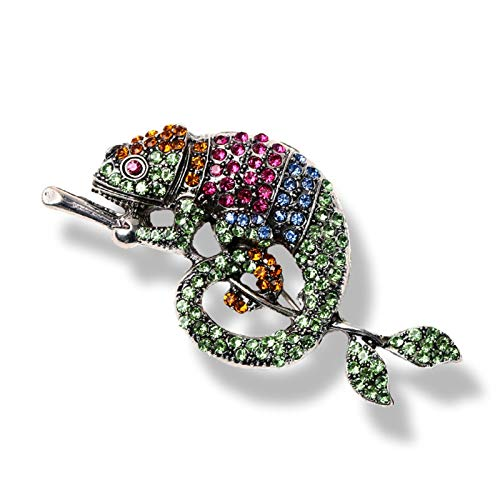 CYPZ 2 Pcs Personality Gold Diamond Chameleon Brooch Wild Animal Brooch Insect Jewelry Brooch Green