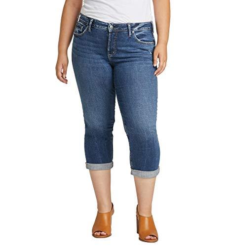 Silver Jeans Co. Women's Plus Size Elyse Curvy Fit Mid Rise Capri Jean, Distressed Dark Shade, 16W -  W43022SDK349