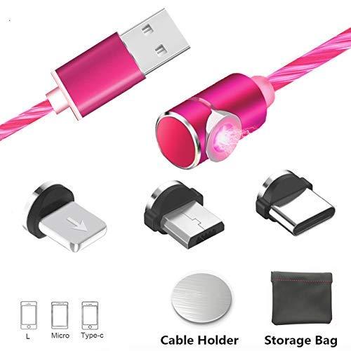 Magnetische USB Kabel Micro Typ C Beleuchtung Ladekabel mit Sichtbaren Fließenden LED Schnellladung Leuchtet Kabel Kompatibel für Telefon, Sam Sung Galaxy (Keine Datensynchronisation)