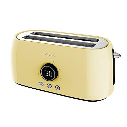 Cecotec Tostadora Digital ClassicToast 15000 Yellow Extra Double. 1500 W, 2 Ranuras largas extraanchas para 4 tostadas, Pantalla Digital, 3 Funciones, Varillas Superiores, Diseño Retro en Amarillo