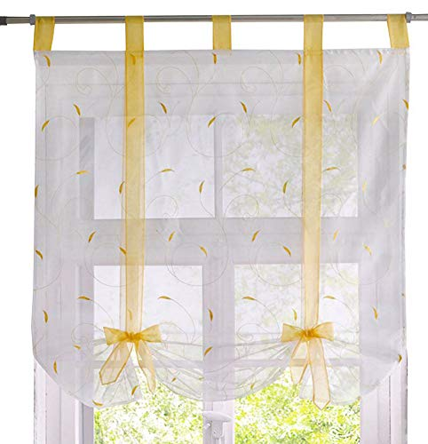 ZebraSmile Leaves Pattern Ribbon Tie Up Tab Top Semi Sheer Kitchen Balloon Curtain for Window Roman Curtain Lifable Curtain, 24 x 55 Inch, Yellow