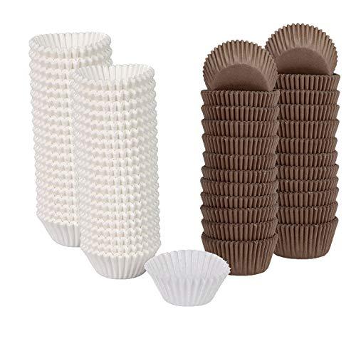 Sunbbingsp 400 PCS Pirottini Cupcake, Cupcake Carta, Pirottini per Muffin in Carta, Pirottini per Muffin per Pastichieria, Dolci,Torta e Muffin(Bianco, Marrone)