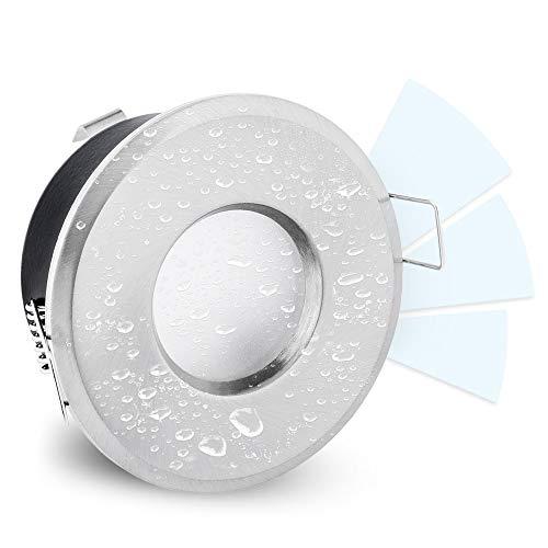 linovum LED Bad Einbaustrahler IP65 Edelstahl Optik rund fourSTEP Dim 230V neutralweiß - dimmen ohne Dimmer - wassergeschützt