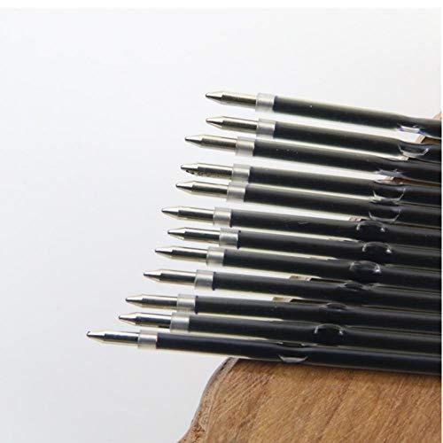 PiniceCore 10pcs 0.7mm Negro Bolígrafo Negro Oficina de Recarga Material Escolar Pluma de la Escritura de la Pluma Roller