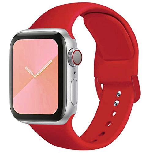 Correa de silicona suave para Apple Watch Series SE 6 5 4 3 2 1 40MM 44MM 38MM 42MM Correa de caucho para reloj-06 Rojo, 42 mm o 44 mm SM