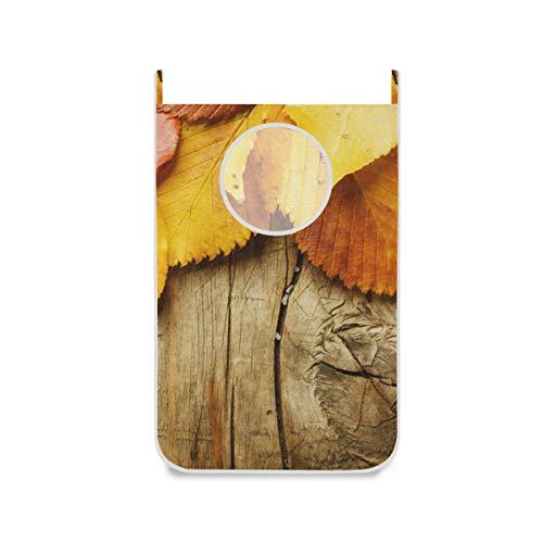 XiangHeFu Wasmand voor het ophangen van herfstbladen, opvouwbaar in een opbergmand van hout, stoffen tas