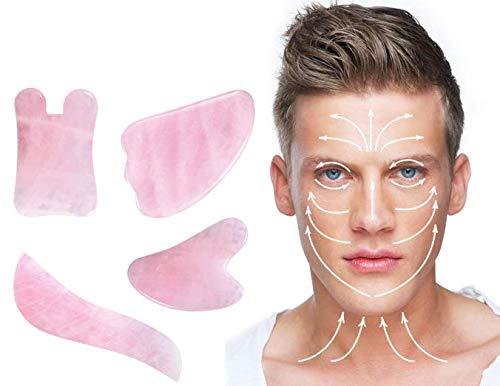 IDABAY Gua Sha, Set di 4 PCS Massage Jade, Gua Sha Scraping Naturale Rosa Cristallo Di Quarzo In Polvere Per Aumentare La Circolazione Sanguigna, Strumento Dimagrante Per massaggio Con Pietra Di Giada