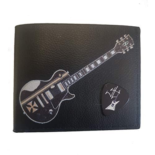 James Hetfield - Cartera con cruz de hierro y caja de regalo, con soporte para púas, piel vegana