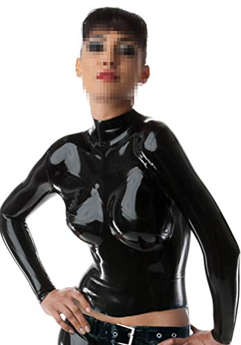 Latex Catsuits Classic Seduction Top Dress Customized Back Zipped Fitted 0.4mm (Black)