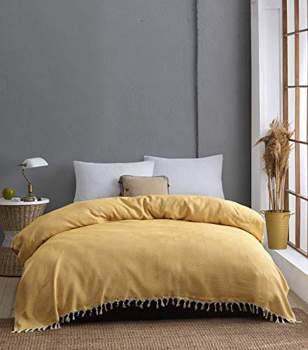 Belle Living Hitit Tagesdecke Überwurf Decke - Wohndecke - ideal für Bett und Sofa, 100% Baumwolle - handgefertigte Fransen, 200x250cm (Gelb)
