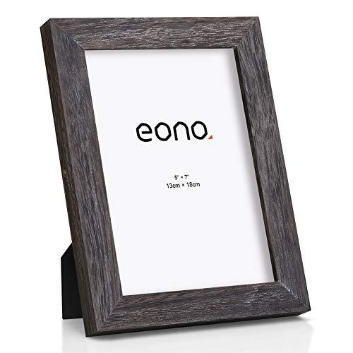 Eono by Amazon - Marco de Fotos de Madera Maciza y Cristal de Alta Definición para Pared o Sobremesa 20x25 cm Acabado Madera a la Deriva