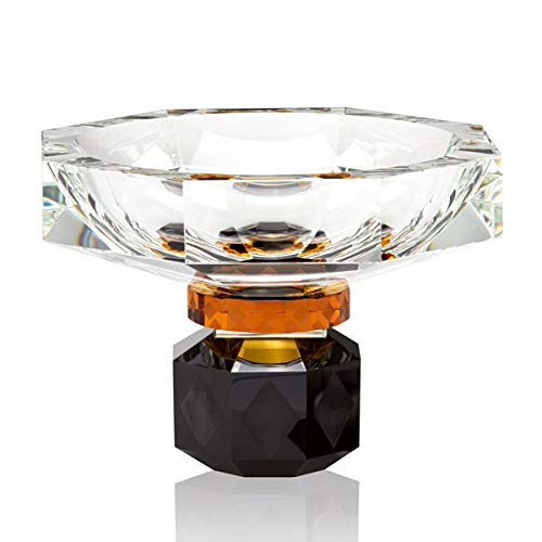 Reflections Copenhagen - Arizona - Obstschale, Schale, Snackschale, Tischaufsatz - Kristallglas - Klar, Schwarz, Amber - (LxBxH): 22 x 22 x 17,4 cm