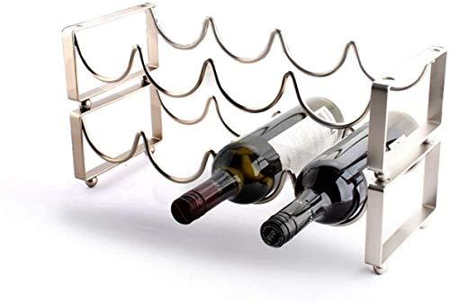Botellero de vino de metal para 4 botellas de vino con 2 niveles apilables, color plateado, 45,5 x 17 x 23 cm, estante portátil para vino (color: plata, tamaño: 45,5 x 17 x 23 cm) de almacenamiento