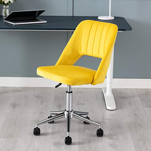 Wahson Velvet Office Chair Swivel Desk Chair Height Adjustable Armless Task Chair for Home Office (Yellow)