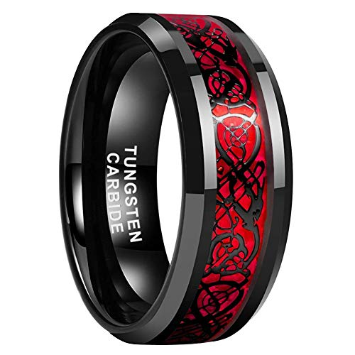 iTungsten 8mm Black Tungsten Carbide Wedding Bands for Men Women Engagement Rings Celtic Dragon Red Carbon Fiber Inlay Beveled Edges Comfort Fit