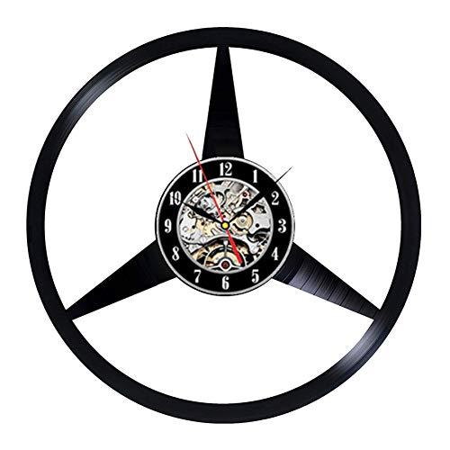 Vinyl Schallplatte Wanduhr modernes Design Auto Logo 3D Dekoration Mercedes-Benz Wand Logo Vinyl Uhr Wanduhr Hauptdekoration