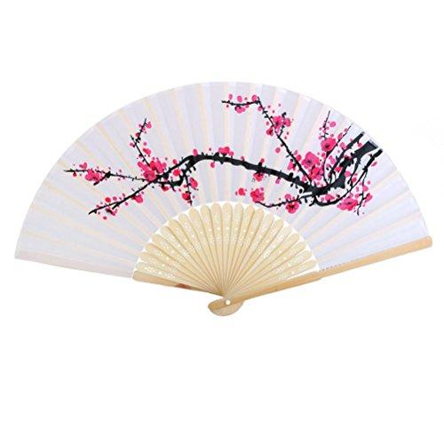 WINOMO ventilateur pliante Motif de Fleur de Prunier Accessoire d'Eté fan de tissu Décoration Cadeau