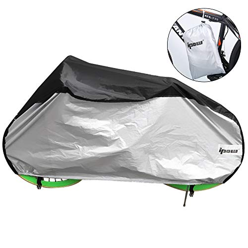 Ipow Cycle Bike Bicycle Rain Dust Snow Large Waterproof Cover with Storage Bag, XXL Black Sliver