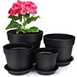 HOMENOTE 7/6/5/4 inch Plastic Planters Indoor Set of 4 Black Plant Pots with Drainage Trays Modern Round Flower pots for House Plants, Succulents, Flowers