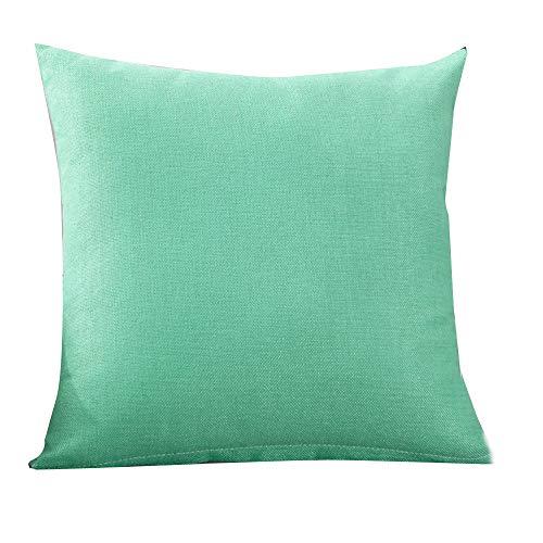 Funda de lino de lino de color liso,Subfamily®Moda simple Fundas de almohada Cafe Sofa Funda de cojín Decoración del hogar (3, Light Blue)
