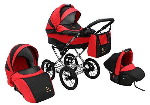 Lux4kids Retro Stroller Classica 3in1 2in1 Isofix neumáticos, ruedas de radios, cromo Fire 06 2en1 sin asiento
