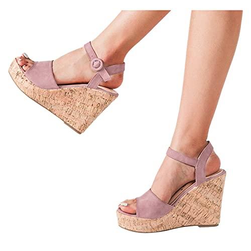 BIBOKAOKE Sandales compensées pour femme - Sandales compensées - Sandales décontractées - Sandales d'été - Sandales à bride - Pour l'été