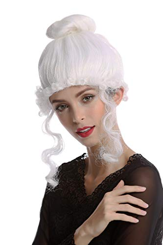 WIG ME UP -68539-P60 Parrucca Donna Carnevale Storica Biedermeier Romanticismo Rinascimento Mondo Antico Barocco Bianco