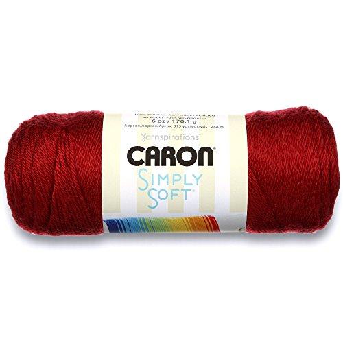 Caron Simply Soft Solids Yarn (4) Medium Gauge 100% Acrylic - 6 oz - Autumn Red - Machine Wash & Dry
