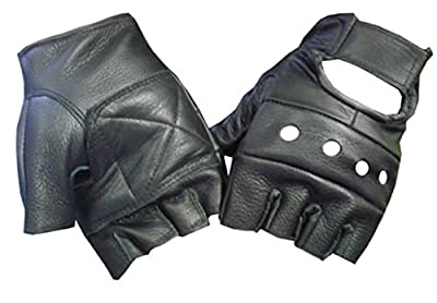 Black Leather Fingerless Motorcycle Biker Glove - Leatherbull (Free U.S. Shipping)