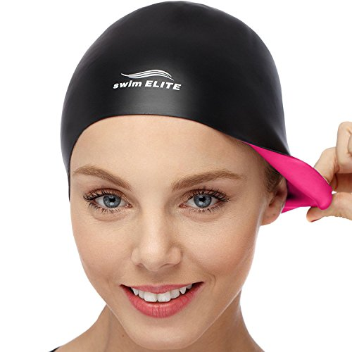 2-in-1 Premium Silicone Swim Cap - Reversible - Wear It On Both Sides - Wrinkle-Free Swimming Cap for Men and Women - Best for Short and Medium Length Hair (Pink/Black)
