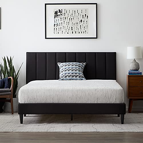 Lucid Upholstered Platform Bed with Channel Tufted Headboard-Sturdy Wood-No Box Spring Required