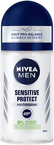 NIVEA MEN Sensitive Protect Deo Roll On (50 ml), Antitranspirant Roller für sensible Haut, Deodorant mit 48h Schutz