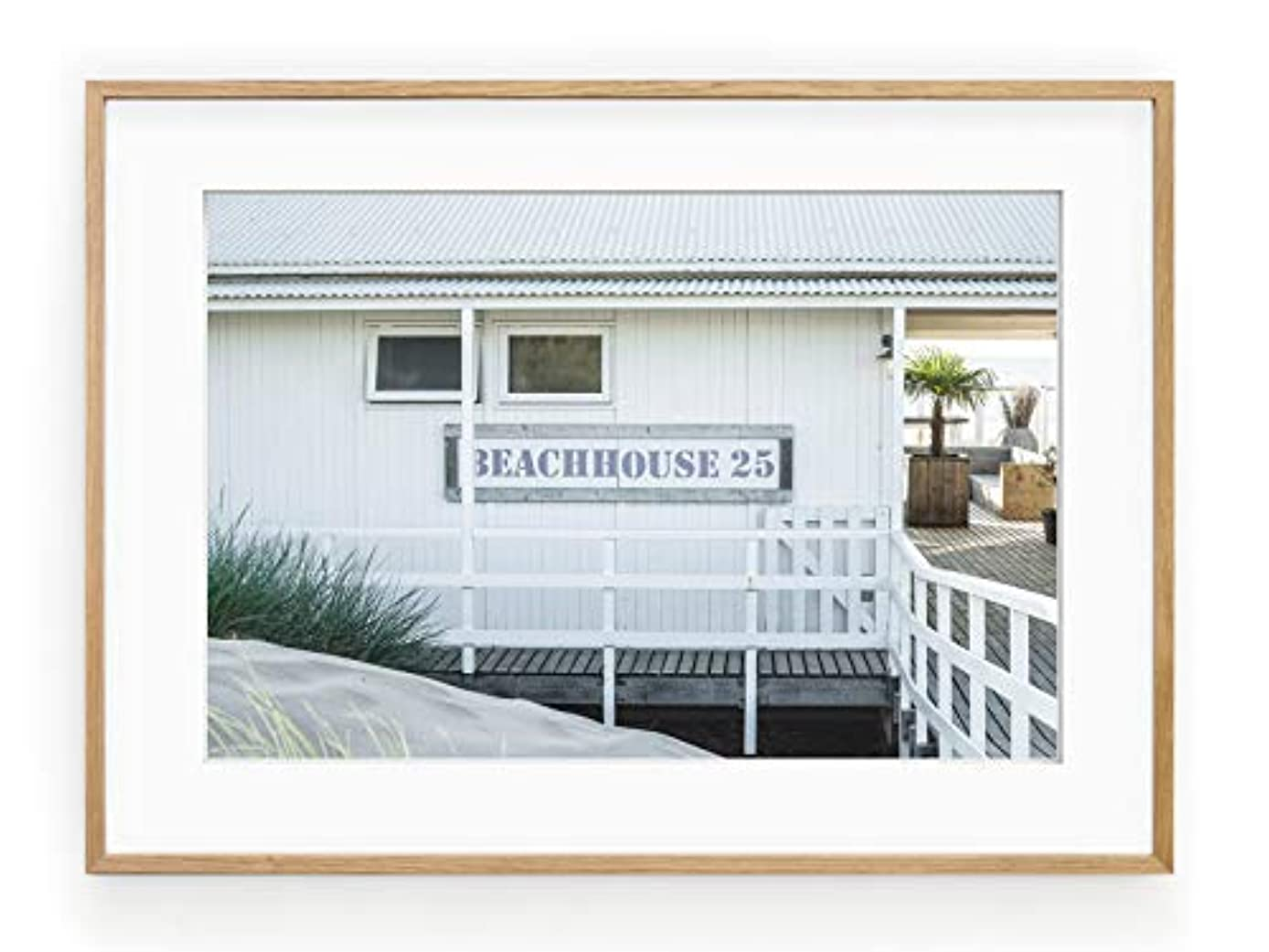 Beachouse Solid Oak Natural Frame with Mount, Multicolored, 40x50