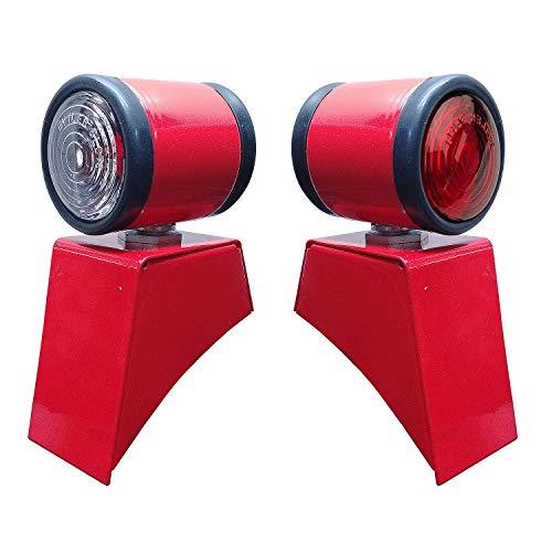 Bajato Pair Butler Lamp 12V For Massey Ferguson 35X Tractors with Butler Style Fender Light BRACKET (Red)
